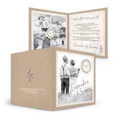 Jetzt online individuell gestalten - Hochzeitsdanksagung mit Kraftpapier und Lavendel passend zur Serie \\\