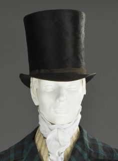 Top hat c. 1832 is a tall, flat brimmed hat primarily worn from the late 18th century to the middle of the 20th century.