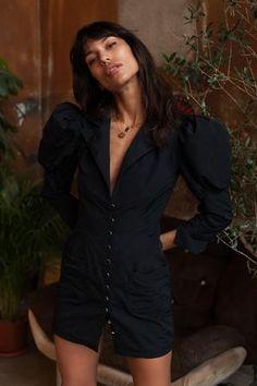 // Shop Taffeta Dress with Puffed Shoulders on www. Fashion Show, Fashion Outfits, Fashion Design, Women's Fashion, Fashionista Street Style, Perrie Edwards Style, Races Outfit, Taffeta Dress, Spring Summer Fashion