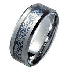 8MM Blue Celtic Dragon Men's / Women's Tungsten Carbide R...