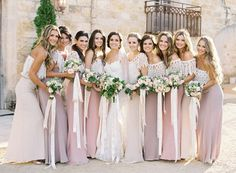 The long ribbon on the bouquets Boho/ Bohemian Wedding Ideas - Rustic Romantic Lace Covered Pink Tone Bohemian Bridesmaid Dresses Bohemian Bridesmaid, Mismatched Bridesmaid Dresses, Wedding Bridesmaid Dresses, Boho Wedding, Dream Wedding, Pink Bridesmaids, Bridesmaid Colours, Spring Wedding, 2 Piece Bridesmaid Dress