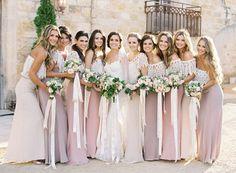 Boho/ Bohemian Wedding Ideas - Rustic Romantic Lace Covered Pink Tone Bohemian Bridesmaid Dresses