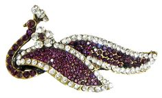 Faux Garnet and Cubic Zirconia Peacock Hair Clip (Stone and Metal))