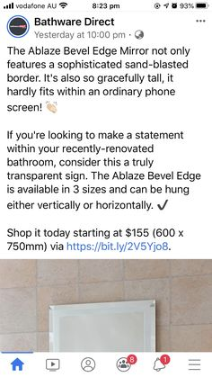 Beveled Edge Mirror, Tile Floor, Bathroom, How To Make, Design, Washroom, Bathrooms, Tile Flooring, Downstairs Bathroom