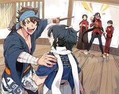Twitter Me Me Me Anime, Anime Guys, Touken Ranbu Kanesada, Character Art, Character Design, Mutsunokami Yoshiyuki, Nikkari Aoe, Draw The Squad, Samurai