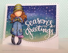 Season's Greetings handmade card. Used DoCrafts TOADSTOOLS Cling Stamps Gorjuss Urban, SSS SEASON'S GREETINGS Craft Dies, SSS Stencil FALLING SNOW.
