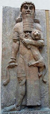 Gilgamesh statue - circa 750 BC, from Palace of Sargon II, Babylonian - at the Louvre Museum