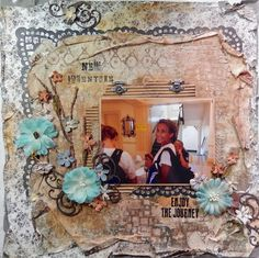 New Adventures...a layout using Swirlydoos kit Modeling Paste, Stencils, Stamping and Silks Acrylic Glazes