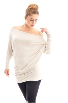 Oversize long sleeve top Cream beige oversize cotton tunic by onor
