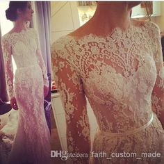 Wholesale Romantic Bridal Dresses - Buy 2014 Illusion Long Sleeve Lace Wedding Dresses Winter Steven Khalil Transparent Bateau Scallop Trim ...