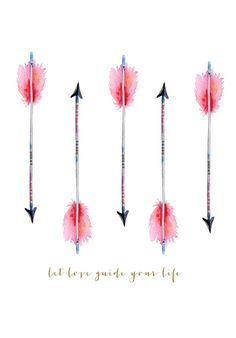 Let Love Guide Your Life watercolor arrow printable | http://www.craftberrybush.com