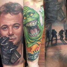 """@Regrann from @kregiec6268 -  Start of my Ghostbuster sleeve. Big thanks to Halo Jankowski @tattoosbyhalo @blacklotustat2gallery for doing such an amazing…"""