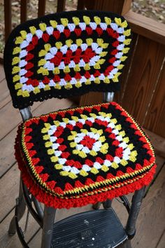 Vintage Cosco Kitchen Stool with Crocheted by LittlestSister, $125.00