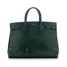 Pre-Owned Saint Laurent Classic Calfskin Large Sac De Jour Tote ($2,050) ❤ liked on Polyvore featuring bags, handbags, tote bags, green, green handbags, green purse, tote purses, calfskin handbag and green tote