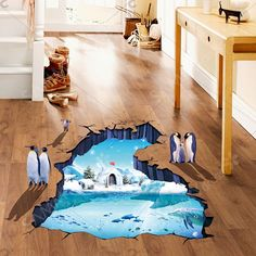 Removable Creative 3D Polar Ice Decoration Bedroom Kindergarten Floor Sticker