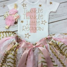 Any Age Personalized Twinkle Twinkle Little Star Pink and Gold