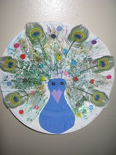 peacock paper plate craft. Could also use same format for turkey using fall colors.