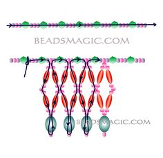 Free pattern for necklace Winter Tears - 2.----------- U need Seed beads 11/0, Bicons 6 mm, Rice oval beads, Oval beads