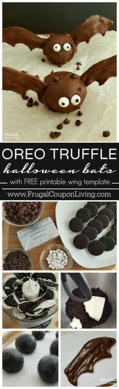 Halloween OREO Bat Truffles with FREE Printable Wing Stencil. These are such a fun Halloween dessert for the kids. Perfect for a school Halloween Party.