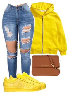 """""""6/3/17"""" by tiana-lashay3 ❤ liked on Polyvore featuring adidas and MICHAEL Michael Kors"""