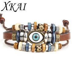 XKAI Retro rope Adjustable Leather men Multilevel Feather eyes bracelets rope hand woven bracelet for women braided Jewelry B104 #Affiliate