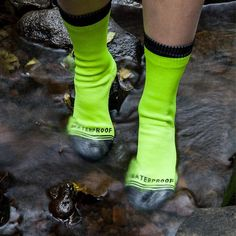 Crosspoint Waterproof Socks are great for walking, biking, hiking, running and playing in the rain. If it is raining really hard Crosspoint Socks work best with rain pants, since there is not a water tight seal at the top of the sock. It's not recommended that you submerge your foot in water over the top of the sock for this reason as water may get trapped inside the sock The Crosspoint Waterproof Hi-Viz Crew Socks material breakdown is:  Outside sock layer: 78% Nylon, 15% Polyester and 7%…