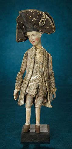 Forever Young - Marquis Antique Doll Auction: 72 German Carved Wooden Manman with Elaborate Original Court Costume