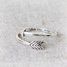 Personalized Arrow Ring in 925 sterling silver by laonato on Etsy https://www.etsy.com/listing/207414123/personalized-arrow-ring-in-925-sterling