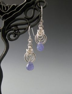 Byzantine Ripple Chain Mail Earrings with Tanzanite via Etsy