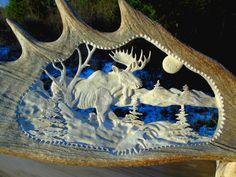 Antler Jewelry, Antler Art, Sculpture Sur Os, Soapstone Carving, Moose Antlers, Art Nouveau Furniture, Bone Carving, Wood Creations, Wooden Art