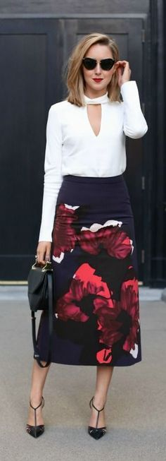abstract floral a-line midi skirt, white v-neck choker blouse, black pointed toe pumps, black shoulder bag + sunglasses Party Looks, Work Fashion, Modest Fashion, Office Fashion, Street Fashion, Nyc Fashion, Fashion News, Fashion Shoes, Fashion Jewelry