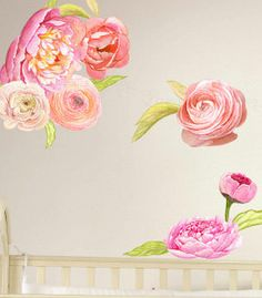 This large set of beautiful flower decals will make quite a statement in your master bedroom, childs room or nursery.  This listing is for a large set of watercolor Peony and Ranunculus floral wall decals in pinks and peach Set includes (3) 10 x 10 flowers  (1) of each of the following sizes  11 x 14  8 x 8  11 x 6  12 x 6  and several leaves  Each piece comes separate so you can place them however you like.  Our new FABRIC decals (not vinyl) are repositionable and reusable. This polyester…