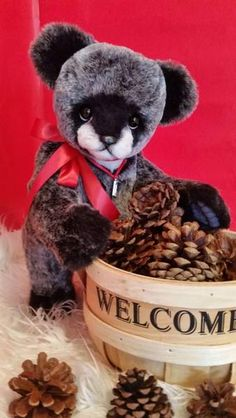 Kuma By Dawnzooaks - Hi meet Kuma, my newest Bear cub... He is one of a kind and designed by me. Kuma is made with a beautiful Black with Grey tips long pile Faux Fur. His Chest and Muzzle are Vanilla Tissavel Long Pile. This little guy is so soft and cuddly.He is 11 inches while sitting, which he l...