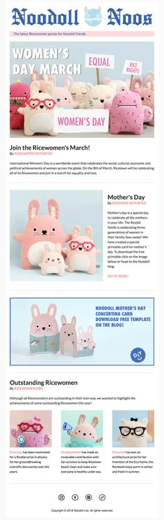 Noodoll Noos / The latest Ricemonster gossip for Noodoll friends! #noodoll #newsletter #mailchimp #template #monster #toy #plushtoy #fun #kids #newspaper #news #design