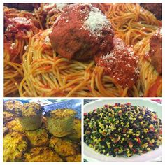 Spaghetti & Meatballs, Carrot & Parsnip Cakes, and Black Bean Salad. Spaghetti And Meatballs, Bean Salad, Black Beans, Carrots, Cakes, Ethnic Recipes, Food, Bean Salads, Cake Makers