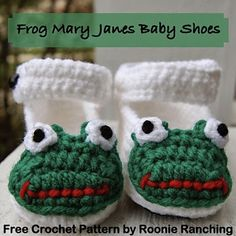 Ravelry: Frog Mary Janes Baby Shoes pattern by Erin Malahowski Free Pattern