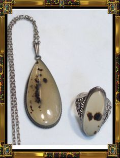 Vintage Deco Picture Agate sterling necklace & by vintagesparkles, $225.00
