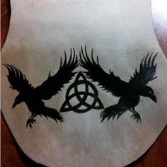 Hugin & Munin   Viking Leather Pouch, Crows, Triskle