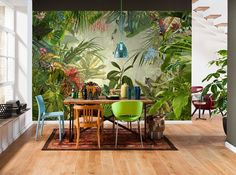 Komar Into The Wild Tropical Rain Forest Scenic Wallpaper Mural, Green, 368 x 248 cm, Set of 4 Pieces Tropical Home Decor, Tropical Houses, Tropical Colors, Tropical Interior, Tropical Kitchen, Tropical Furniture, Photo Wallpaper, Wallpaper Roll, Wallpaper Murals