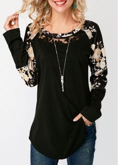 Round Neck Long Sleeve Curved Hem T Shirt On Sale At Modlily. Stylish Tops For Girls, Trendy Tops For Women, Stylish Outfits, Fashion Outfits, Womens Fashion, Fashion Boots, Clothes For Women In 30's, Tunic Tops, Couture