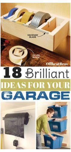 Garage Organisation, Diy Garage Storage, Shed Storage, Organization Hacks, Organized Garage, How To Organize Garage, Garage Diy Organization, Organizing Ideas, Tape Storage