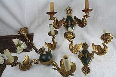 Exclusive Set Chandelier + 2 sconces wall lights empire swan bronze tole 1950