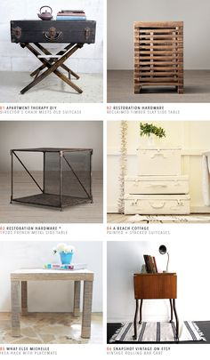 Gorgeous end tables.  Restoration Hardware, DIY, and Etsy.  Lots of great ideas here.