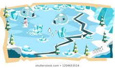 Snow Landscape Game Maps and Soft Blue Ice Land, Snow House, Penguin, Ice Beam and Spruce Trees Platformer Vector Illustration Ice Land, Black Brazilian, Spruce Tree, Fresh Image, Mobile Game, Local Artists, New Image, Royalty Free Images, Penguin