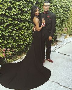 black backless prom dress for dark skinned girl with kinky straight hair