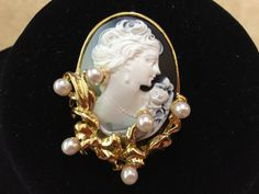 Signed 1995 BG carved cameo with pearl by UptownJunkBoutique