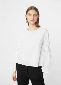 Popeline-bluse mit schleifen | MANGO