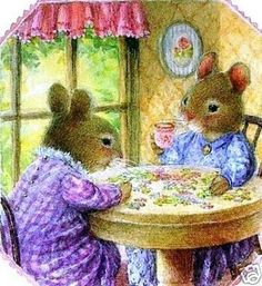 Holly Pond Hill, Tea and a Puzzle artist Susan Wheeler Susan Wheeler, Beatrix Potter, Vintage Cards, Vintage Images, Lapin Art, Bunny Art, Tea Art, Children's Book Illustration, Whimsical Art