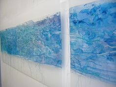 Fiona Hutchison, North Sea Paper, Painted and stitched paper, 2 panels 30 x 135 cm