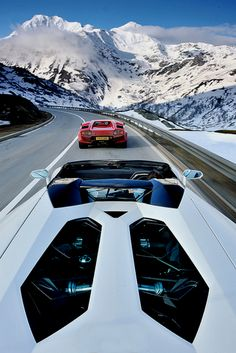 Aventador + Countach playing in the mountains